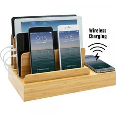Charging Desk Organizer with Wireless Smart Charging Pad + 6-USB Ports.  No need to plug in your phone when our brand new wireless charging station is equipped with a wireless charging hub! Simply place your Qi-compatible device on the wireless charging area on the right side of the unit and your phone will be fully charged in no time!