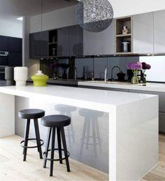 Grey And White Modern Kitchen 40mm lambs tongue / laminated - edge profile | kitchen ideas