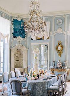 Chateau de Villette Wedding Inspiration with Monsoleil Weddings – Paris - wedding inspiration Reception Table, Wedding Reception, Blue Wedding, French Wedding, Paris Wedding, Wedding Tables, Reception Ideas, Wedding Decor, Dream Wedding