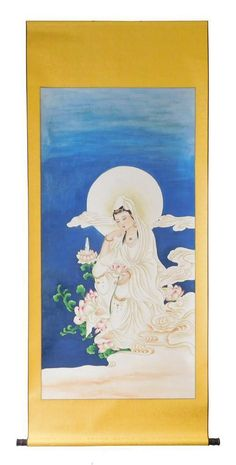 Scroll Painting, Meditation Kwan Yin Bodhisattva on Chairish.com