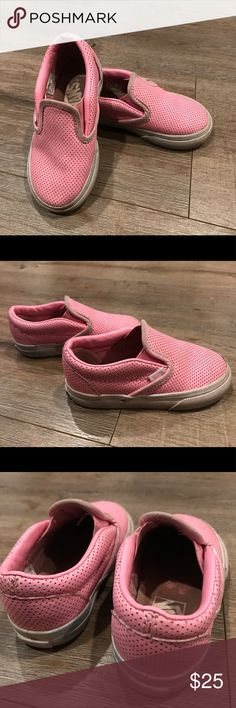 Pink leather Vans girls slip on In great used condition super cute and rare size 6.5 Vans Shoes Sneakers