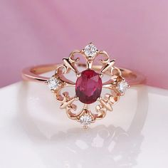 Unique engagement ring rose gold vintage Art deco oval ruby
