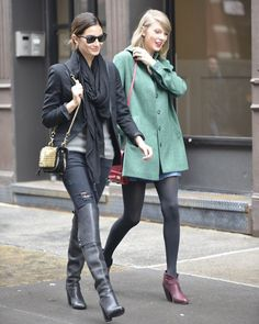 Lily Aldridge and Taylor Swift in Soho Rich And Skinny Jeans, Distressed Skinny Jeans, Taylor Swift Web, Lily Aldridge, Try On, Red Carpet Fashion, Celebrity Style, Bomber Jacket, Fashion Design