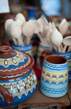 Bulgarian traditions- trojan ceramics and wooden spoons