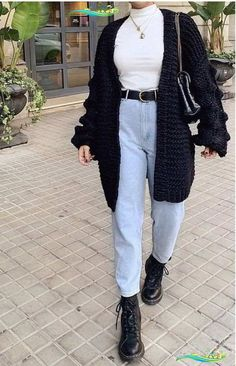 Winter Baggy Cardigan Coat - My Work Outfits Blog Winter Baggy Cardigan Coat   #Baggy #cardigan #Coat<br> Casual Fall Outfits, Outfits For Teens, Winter Outfits, Cute Outfits, Casual Jeans, Edgy Outfits, Jeans Style, Casual Ootd, Summer Outfits