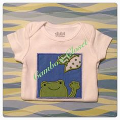 Cute frog baby bodysuit by Cambo's Closet. Email camboscloset@gmail.com to order or inquire.