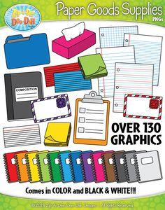 Paper Goods Supplies Clipart Set — Over 130 Graphics!
