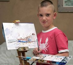 This is Kieron Williamson, age six. Look him up! Amazing watercolor artist.