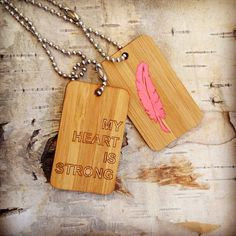 My Heart is Strong  hand painted Bamboo Soul Tags by SaraLua, $48.00