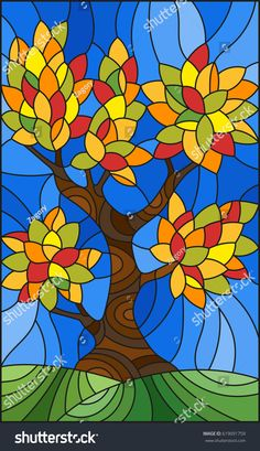 Illustration in stained glass style with autumn tree on sky background Glass Painting Patterns, Glass Painting Designs, Faux Stained Glass, Tree Illustration, Tree Art, Mosaic Art, Art Projects, Wall Murals, Trendy Tree