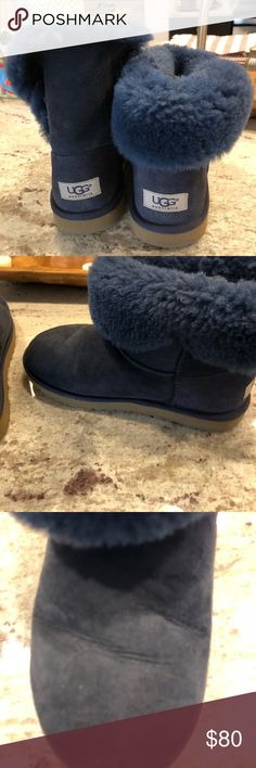 Size 5 ugg navy blue Great condition but show signs of wear- can roll down fur or leave up- Love the navy color! Shoes