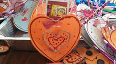 Valentines heart bag with pencil, magnet, candy, sticker inside