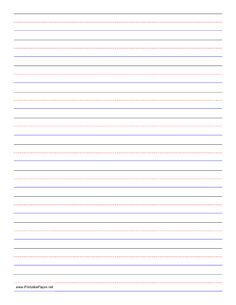 Penmanship paper with eleven sets of black, red, and blue lines in portrait orientation. Free to download and print