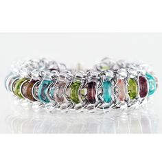 KIT - Spring - Glass Caterpillar Alum w/ Spring Glass rings Clear Beads, Love the colors! Hopea, Chainmaille Bracelet, Chain Mail, Beads And Wire, Bangles, Bracelets, Caterpillar, Medieval, Kit