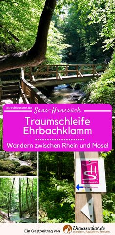 One of the top 10 hiking trails in Germany is the Ehrbachklamm dream loop in Saar-Hunsrück. This circular hiking trail lies between the Rhine and the Moselle and is characterized by a high level of ex Camping And Hiking, Camping Hacks, Hiking Trails, Outdoor Camping, Outdoor Travel, Travel Hacks, Appalachian Trail, Abandoned Castles, Van Life