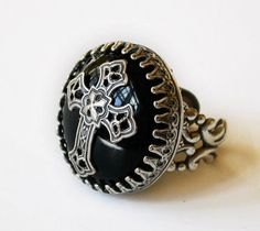 Gothic Cross Ring - Silver and Black Onyx   ~ LeBoudoirNoir ~ Victorian Medieval Gothic Jewelry and Accessories @ etsy