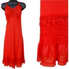 1950s Full Length Red Slip Size Extra Large Bust 38 Sensational Shirred Details