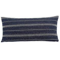 Delicate embroidery takes center stage on this Shibori Chic breakfastpillow.Made of 100% certified organic cotton, the front boasts white embroidery on an indigo ground with a natural linen back.This pillow cover is made of 100% certified organic cotton, and is filled with an insert made from recycled plastic bottles. It is finished with crisp knife edges and an exposed gold zipper for a pop of glamour. Spot clean only. Matching bedding andother decorative pillows are sold separately.12 x…