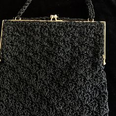 Vintage ADG Imports Black Crochet Purse 1950's Made in Japan Hong Kong