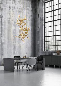 Creating lighting sculptures since Brand van Egmond has designed signature collections of modern lighting. Discover all handmade lighting ► Modern Kitchen Lighting, Office Lighting, Modern Floor Lamps, Modern Chandelier, Lighting Ideas, Chandeliers, Lighting Design, Luxury Lighting, Interior Lighting