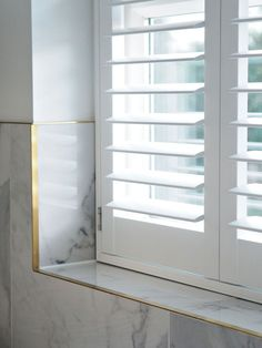 Bathroom White DIY Window Shutters Bathroom Houses become Homes Article Body: Having bought a house, Bathroom Window Coverings, Window In Shower, Bathroom Blinds, Bathroom Interior, Bathroom With Window, Bath Window, Bathroom Cabinets, Wooden Window Shutters, Diy Shutters