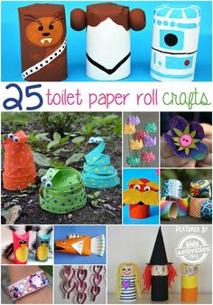 Recycle your toilet paper rolls into awesome kid's art! These Toilet Paper Roll crafts are cheap and easy to make!