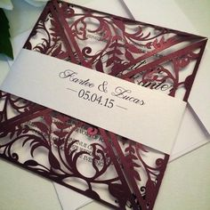 Check out Desine Wedding Invitation Samples. All wedding invitations are one of a kind. Quince Invitations, Burgundy Wedding Invitations, Wedding Invitation Samples, Quinceanera Invitations, Laser Cut Wedding Invitations, Burgendy Wedding, Maroon Wedding, Our Wedding, Dream Wedding