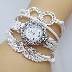 Women's Crystal Wing Infinity Leather Weave Band Quartz Analog Bracelet Watch(Assorted Colors) – USD $ 8.99