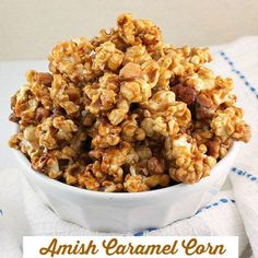 Amish Caramel Corn - Dry roasted peanuts along with perfectly coated caramel popcorn. The perfect Fall snack you'll love it!