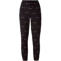 Zoe Karssen Embroidered Eye Track Pants ($142) ❤ liked on Polyvore featuring activewear, activewear pants, black, track pants, embroidered sportswear and zoe karssen