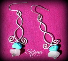 Silver plated wire wrapped turquoise and rose quartz earrings dangle wirework artistic handmade gift for her womens fashion