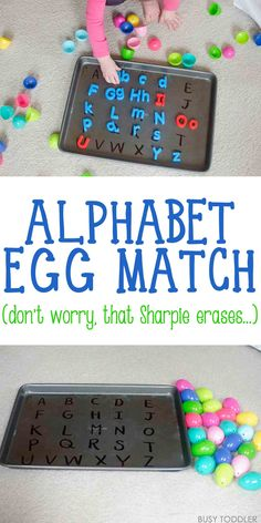 ABC Easter Egg Match - this is an awesome alphabet activity for toddlers and preschoolers. They will love this easy Easter activity!