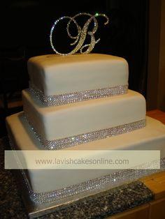 Rhinestone Wedding cake — Square Wedding Cakes