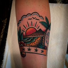 beach traditional tattoo bright color