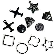 Black Charms Paint star plane  medallion Love Pendant Making Earrings Bracelet Choker Necklaces  Hair Pin Accessories Shoes Bags DIY jewelry