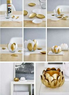 Lily candles holder, made from plastic spoons and gold paint