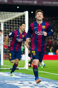 Lionel Messi celebrates after scoring his team's first goal during the Copa del Rey Quarter-Final First Leg match between FC Barcelona and Club Atletico de Madrid at Camp Nou on January 21, 2015 in Barcelona, Catalonia.