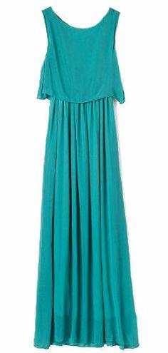Vestido gasa plisado-Verde 0.00