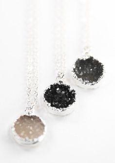 Noelani necklace silver druzy necklace silver