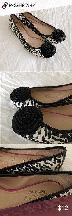 Talbots Animal Print Ballet Flats Canvas upper. Makes a wonderful clicking noise when walking 😊 Talbots Shoes Flats & Loafers