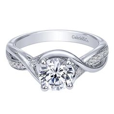 Gabriel & Co. ER10315W44JJ 14k White Gold Diamond Criss Cross Engagement Ring Setting
