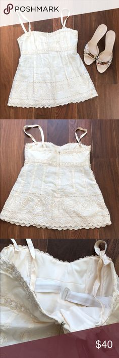 Nanette Lepore crocheted top w/ removable straps Gorgeous designer Nanette Lepore cream crocheted top with removable straps and built in corset for perfect fit. Looser fitting bottom with corseted fitting top. The cutest summer top! Nanette Lepore Tops Camisoles