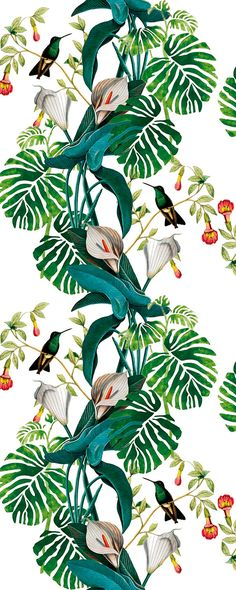 34 Super Ideas for flowers wallpaper pattern illustrations Print Wallpaper, Flower Wallpaper, Wallpaper Backgrounds, Leaves Wallpaper, Wallpaper Patterns, Motif Tropical, Tropical Art, Tropical Pattern, Tropical Prints