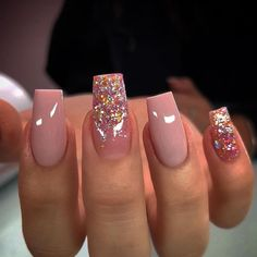 Discover how to complete your glam look with glitter nail designs. Whether you are going to attend a special event such as wedding, you. Square Acrylic Nails, Pink Acrylic Nails, Gel Nails, Glitter Nails, Blush Nails, Pastel Nails, Peach Nails, Jamberry Nails, Stiletto Nails