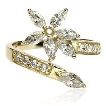 10Kt. Gold Toe Ring With Cubic Zirconia Flower