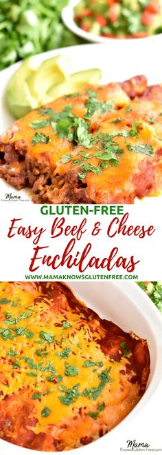 Easy gluten-free beef and cheese enchiladas. Made with homemade taco seasoning and Old El Paso mild red enchilada sauce. I share a simple trick to ensure that your enchiladas will not dry out and taste just like the ones at your favorite restaurant. gluten-free enchiladas, beef and cheese enchiladas. Recipe from www.mamaknowsglutenfree.com #glutenfree #glutenfreerecipe #easyglutenfree #easyrecipe #glutenfreeenchiladas