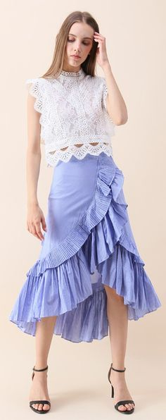 Applause of Ruffle Tiered Frill Hem Skirt (item number: B20170614001) and Your Sassy Start Sleeveless Crochet Lace Top (item number: T20170614012) Find more at chicwish.com