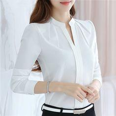 Tienda Online FGLAC blusas de gasa las nuevas 2018 mujeres camisa de moda Casual Camisa de manga larga de gasa color sólido Delgado elegante señora blusas camisa | Aliexpress móvil
