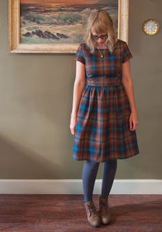 Ambers Emery Dress In Pendleton Wool Shirting - Fancy Tiger Crafts