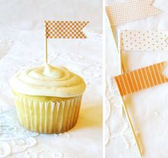 Cupcake flags with washi tape Cupcake Flags, Cupcake Toppers, Cupcake Cakes, Diy Cupcake, Cupcake Picks, Paper Cupcake, Orange Cupcakes, Love Cupcakes, Food Tags